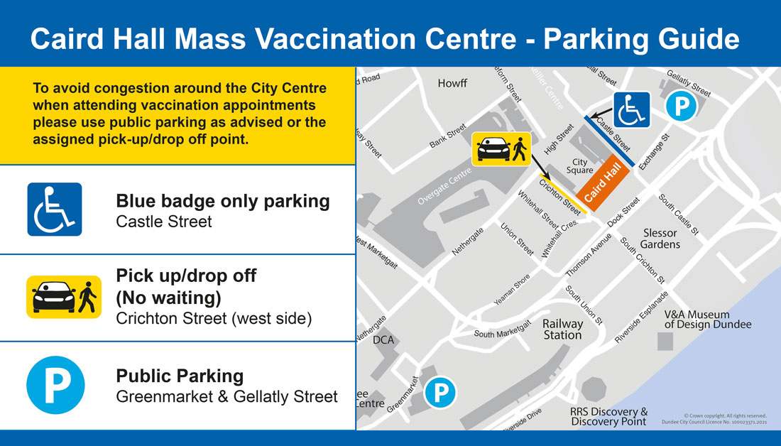 A map showing parking locations near the Caird Hall