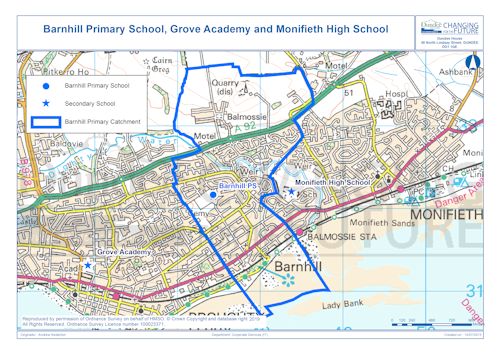 Barnhill Primary School, Grove Academy and Monifieth High School map