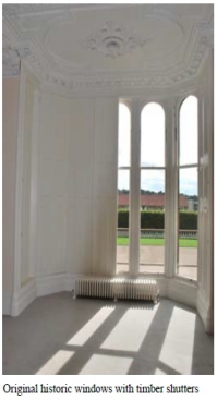 Original historic windows with timber shutters