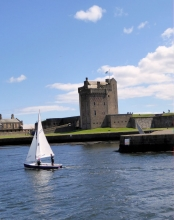 Broughty Castle with yacht