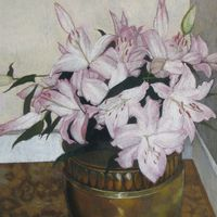 Lilies In a Brass Planter Image
